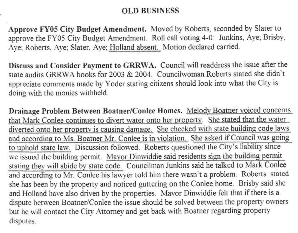 5-5-2005 council meeting Dinwiddie implicates himself, State Rep Phil Wise assisted Boatner